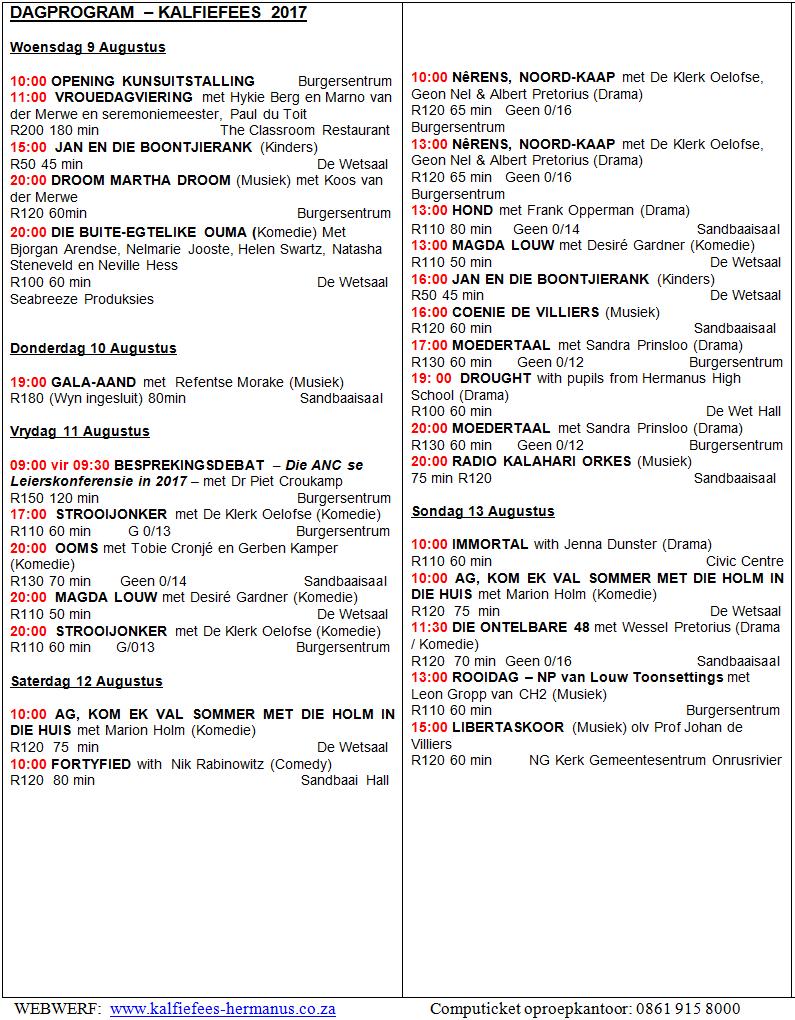 Dagprogram Kalfiefees 2017